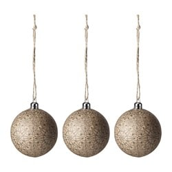 VINTER 2016 decoration, bauble, natural patterned Diameter: 7 cm Package quantity: 3 pieces
