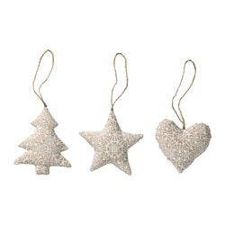 VINTER 2016 hanging decoration, set of 3, beige Height: 9 cm