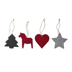VINTER 2016 hanging decoration, set of 4, felt red, grey Height: 10 cm