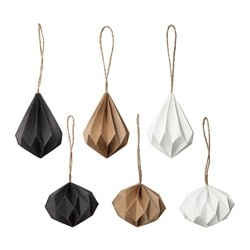 VINTER 2016 hanging decoration, set of 6, white, natural black