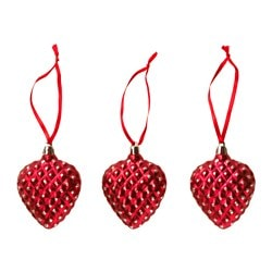VINTER 2016 hanging decoration, heart red Height: 7 cm Package quantity: 3 pieces
