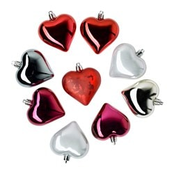 VINTER 2016 hanging decoration, heart red, silver-colour Height: 6 cm Package quantity: 9 pieces