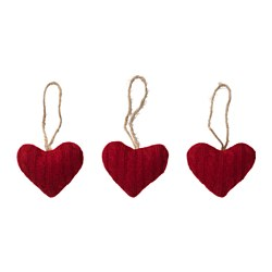 VINTER 2016 hanging decoration, heart, textile red Height: 9 cm Package quantity: 3 pieces