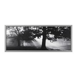BJÖRKSTA picture with frame, Meadow Dream II, aluminium-colour Width: 140 cm Height: 56 cm