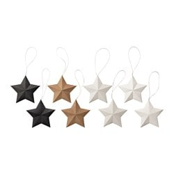 VINTER 2016 hanging decoration, star assorted colours Height: 9 cm Package quantity: 8 pieces