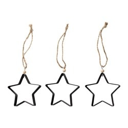 VINTER 2016 hanging decoration, star black Height: 8 cm Package quantity: 3 pieces