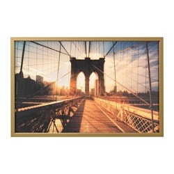 "BJÖRKSTA picture and frame, Brooklyn Bridge at sunset, brass color Width: 30 ¾ "" Height: 46 ½ "" Width: 78 cm Height: 118 cm"