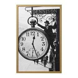 "BJÖRKSTA picture and frame, back in time, brass color Width: 30 ¾ "" Height: 46 ½ "" Width: 78 cm Height: 118 cm"