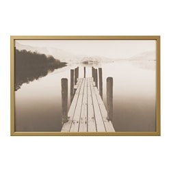"BJÖRKSTA picture and frame, jetty at dawn, brass color Width: 30 ¾ "" Height: 46 ½ "" Width: 78 cm Height: 118 cm"