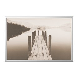 BJÖRKSTA picture with frame, jetty at dawn, aluminium-colour