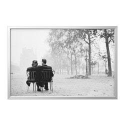 BJÖRKSTA picture with frame, aluminium-colour, Parisianromance Width: 78 cm Height: 118 cm