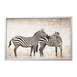 "BJÖRKSTA picture and frame, zebra love, aluminum color Width: 30 ¾ "" Height: 46 ½ "" Width: 78 cm Height: 118 cm"