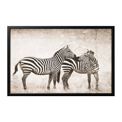 "BJÖRKSTA picture and frame, zebra love, black Width: 30 ¾ "" Height: 46 ½ "" Width: 78 cm Height: 118 cm"