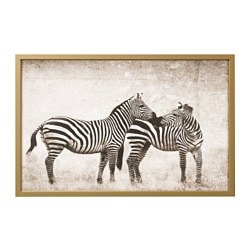 "BJÖRKSTA picture and frame, zebra love, brass color Width: 30 ¾ "" Height: 46 ½ "" Width: 78 cm Height: 118 cm"