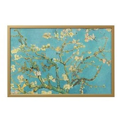 "BJÖRKSTA picture and frame, almond blossom, brass color Width: 30 ¾ "" Height: 46 ½ "" Width: 78 cm Height: 118 cm"