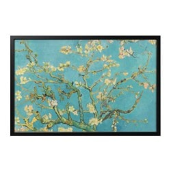 "BJÖRKSTA picture and frame, almond blossom, black Width: 30 ¾ "" Height: 46 ½ "" Width: 78 cm Height: 118 cm"
