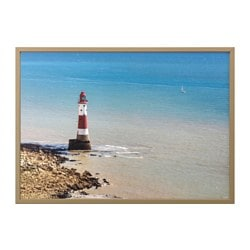BJÖRKSTA, Picture and frame, Beachy Head lighthouse, brass color
