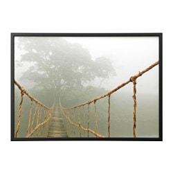 BJÖRKSTA, Picture and frame, jungle journey, black
