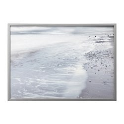 BJÖRKSTA, Picture and frame, winter waves, aluminum color