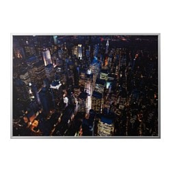BJÖRKSTA picture with frame, city lights, New York, aluminium-colour Width: 200 cm Height: 140 cm