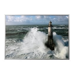 "BJÖRKSTA picture and frame, Ar Men lighthouse, aluminium-colour Width: 78 ¾ "" Height: 55 "" Width: 200 cm Height: 140 cm"