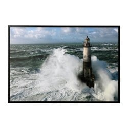 "BJÖRKSTA picture and frame, Ar Men lighthouse, black Width: 78 ¾ "" Height: 55 "" Width: 200 cm Height: 140 cm"