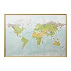 BJÖRKSTA, Picture and frame, planet earth, brass color