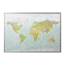 BJÖRKSTA picture with frame, planet earth, aluminium-colour Width: 200 cm Height: 140 cm