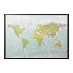 "BJÖRKSTA picture and frame, planet earth, black Width: 78 ¾ "" Height: 55 "" Width: 200 cm Height: 140 cm"