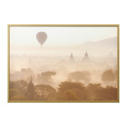 "BJÖRKSTA picture and frame, the temples of Bagan, brass color Width: 78 ¾ "" Height: 55 "" Width: 200 cm Height: 140 cm"