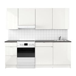 KNOXHULT kitchen, high-gloss white Width: 220.0 cm System, depth: 61.0 cm Height: 220.0 cm