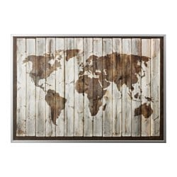 BJÖRKSTA, Picture and frame, driftwood map, aluminum color