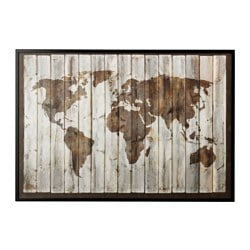 BJÖRKSTA, Picture and frame, driftwood map, black