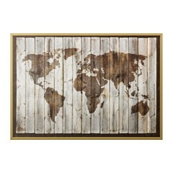 "BJÖRKSTA picture and frame, driftwood map, brass color Width: 78 ¾ "" Height: 55 "" Width: 200 cm Height: 140 cm"