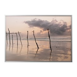 BJÖRKSTA, Picture and frame, African dawn, aluminum color