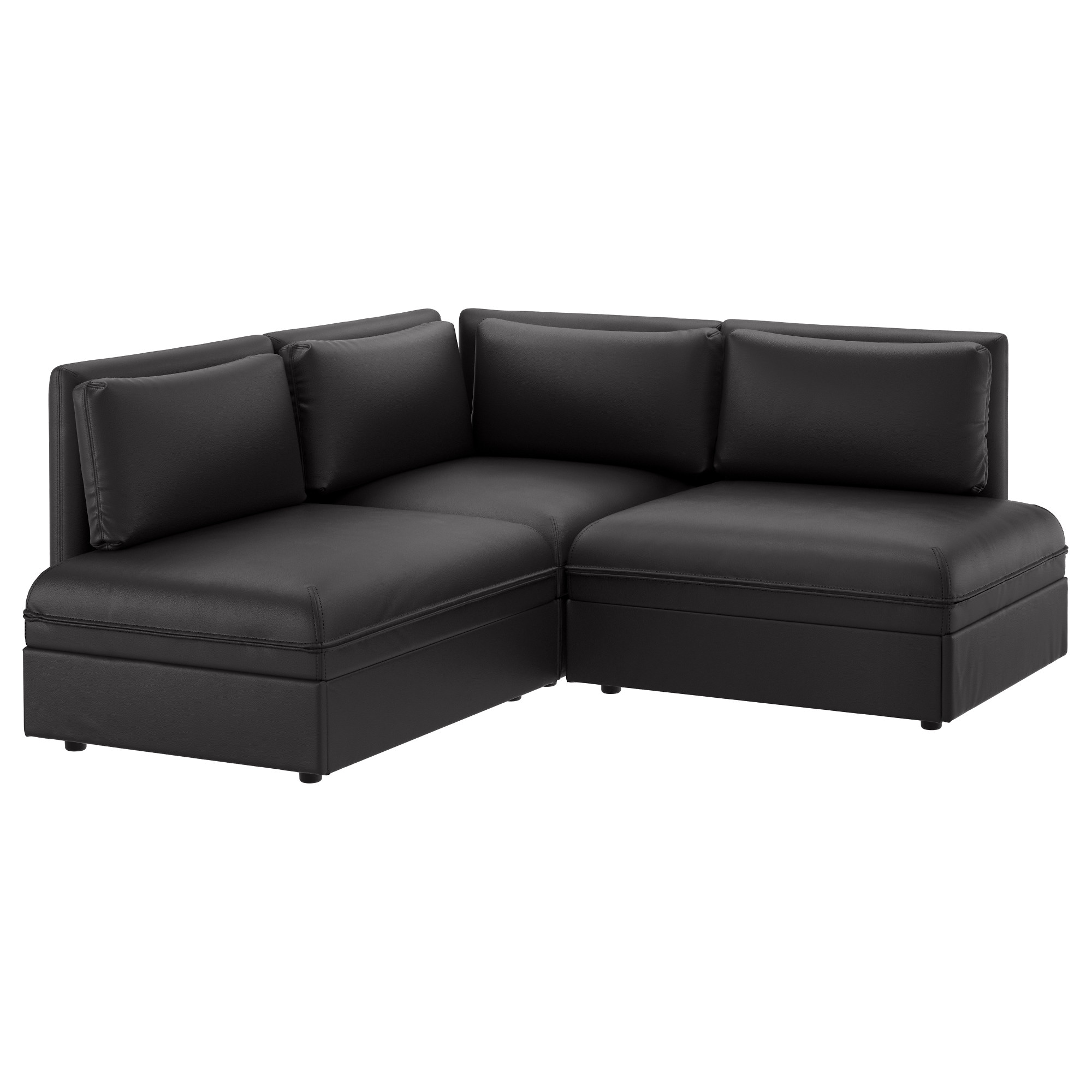 Black leather chair texture - Vallentuna Sectional 2 Seat Murum Black Width 76 Depth 76