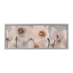 BJÖRKSTA picture with frame, row of whites, aluminium-colour Width: 140 cm Height: 56 cm