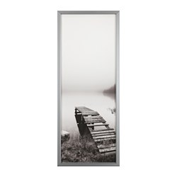 BJÖRKSTA picture with frame, still waters, aluminium-colour Width: 140 cm Height: 56 cm