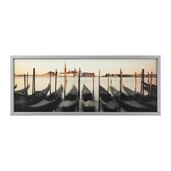 BJÖRKSTA picture with frame, Venetian viewpoint, aluminium-colour Width: 140 cm Height: 56 cm