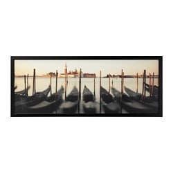 "BJÖRKSTA picture and frame, Venetian viewpoint, black Width: 55 "" Height: 22 "" Width: 140 cm Height: 56 cm"