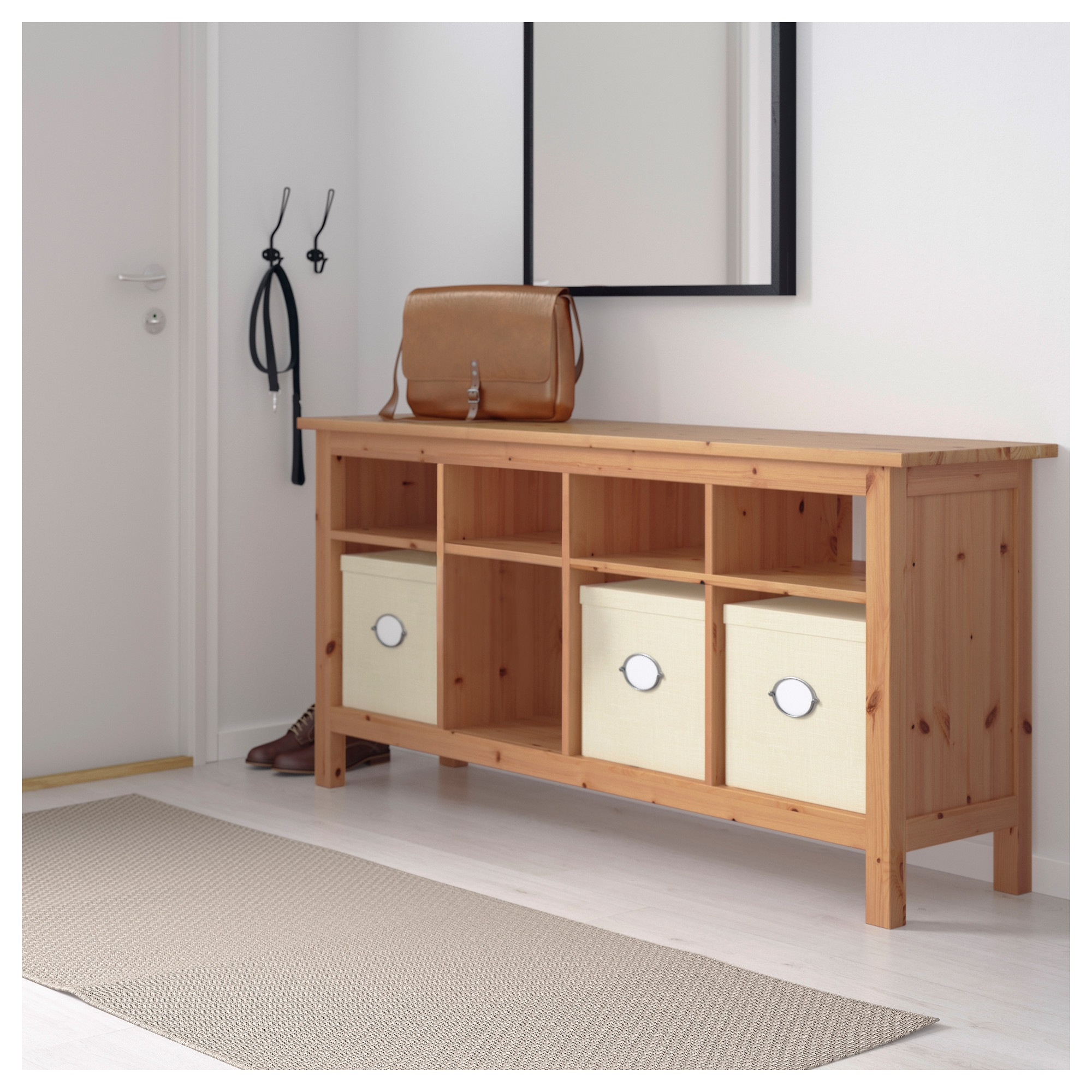 Hemnes console table light brown ikea geotapseo Gallery