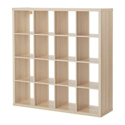 KALLAX shelving unit, white stained oak effect Width: 147 cm Depth: 39 cm Height: 147 cm