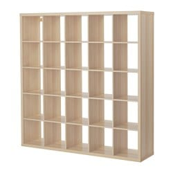 KALLAX shelving unit, white stained oak effect Width: 182 cm Depth: 39 cm Height: 182 cm