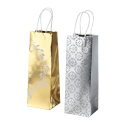 "VINTER 2016 gift bag, gold/silver color Length: 4 "" Width: 4 ¼ "" Height: 12 ½ "" Length: 10 cm Width: 11 cm Height: 32 cm"