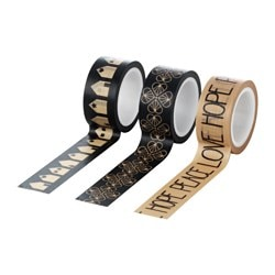 "VINTER 2016 roll of tape, black, natural Length: 16.40 ' Width: ¾ "" Package quantity: 3 pack Length: 5 m Width: 2 cm Package quantity: 3 pack"