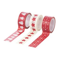 VINTER 2016 roll of tape, red, white Length: 5 m Width: 2 cm Package quantity: 3 pieces