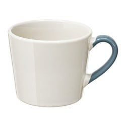 "FINSTILT mug, off-white, blue Height: 3 ¼ "" Volume: 12 oz Height: 8 cm Volume: 36 cl"