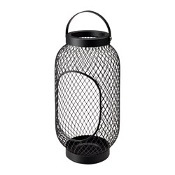 "TOPPIG lantern for block candle, black Height: 14 ¼ "" Height: 36 cm"