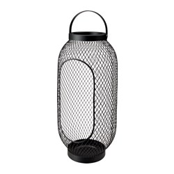 "TOPPIG lantern for block candle, black Height: 19 ¼ "" Height: 49 cm"