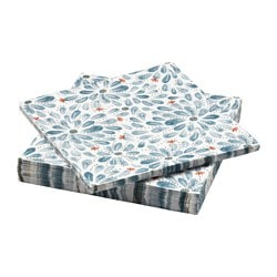 FINSTILT paper napkin, blue, flowers Length: 33 cm Width: 33 cm Package quantity: 30 pieces